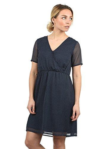 Blend She Charlotte Damen Sommerkleid Kleid mit V-Ausschnitt Knielang Peacoat Dot (24012) LOGZRBHJG9