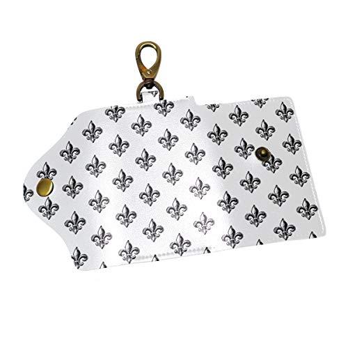 Love Paris Fleur De Lis White Key Case Wallets Leather Unisex Keychain Key Holder Ring with 6 Hooks Snap Closure
