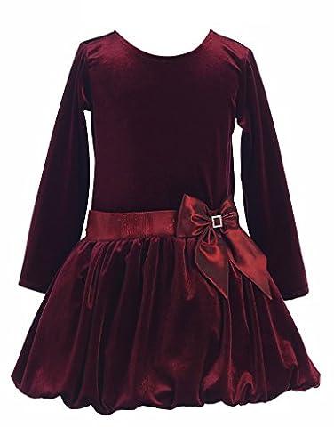 Big Girls Stretch Velvet Bubble Holiday Fall Christmas Dress 7 Burgundy - Holiday Stretch Lace Dress