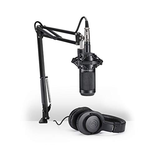 Audio-Technica AT2035PK Vocal Microphone Pack for Streaming/Podcasting, Includes XLR Mic, Adjustable Boom Arm, Shock Mount, & Monitor Headphones, Black