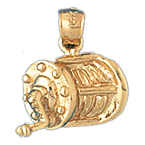 Jewels Obsession Fishing Reel Pendant | 14K Yellow Gold Fishing Reel Pendant - 16 mm