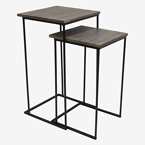 Better & Best Nest of Tables High Leg Iron, Black, Natural Lid, Measures 39 x 37 x 70.5 35 x 35 x 60, Material: Wood/Metal, One Size by Better & Best
