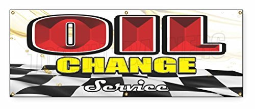 - 1.5 ft x 4 ft OIL CHANGE BANNER SIGN car engine auto repair fast shop mechanic
