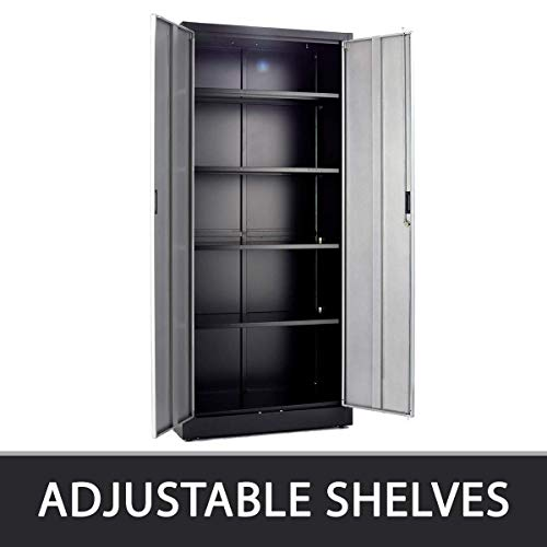 Steel Storage Cabinet 71'' Tall, Lockable Doors and Adjustable Shelves, (Choose Color) 70.86'' Tall x 31.5'' W x 15.75'' D, by Fedmax. (Black) by Fedmax (Image #3)