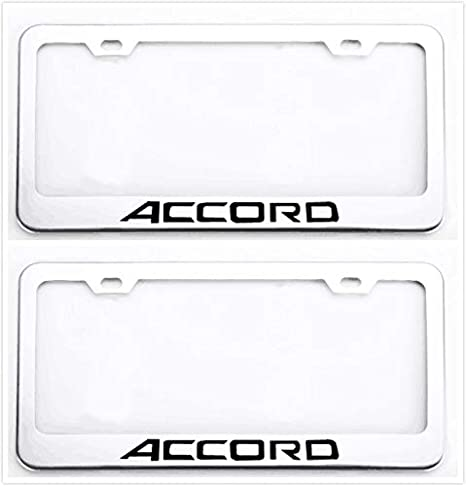 Auggies Accord Letters H Stainless Steel Black License Plate Frame Cover Holder Rust Free with Caps and Screws 1