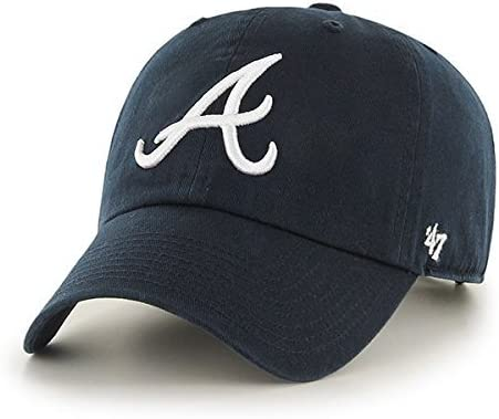 2b26d3c950b Amazon.com   MLB Atlanta Braves  47 Brand Navy Basic Logo Clean Up Home  Adjustable Hat   Sports   Outdoors.