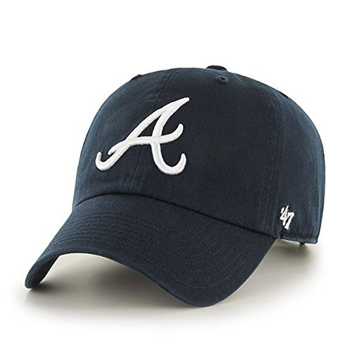 Navy Blue Mlb Batting Helmet - MLB Atlanta Braves '47 Brand Navy Basic Logo Clean Up Home Adjustable Hat