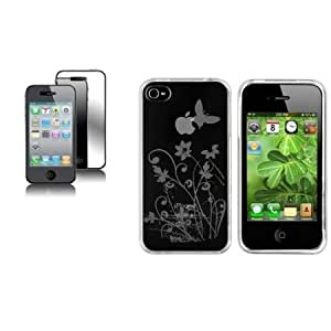 Viesrod CommonByte Clear Flower TPU Skin CASE Cover+MIRROR LCD Screen Guard for iPhone 4 4S 4G IOS