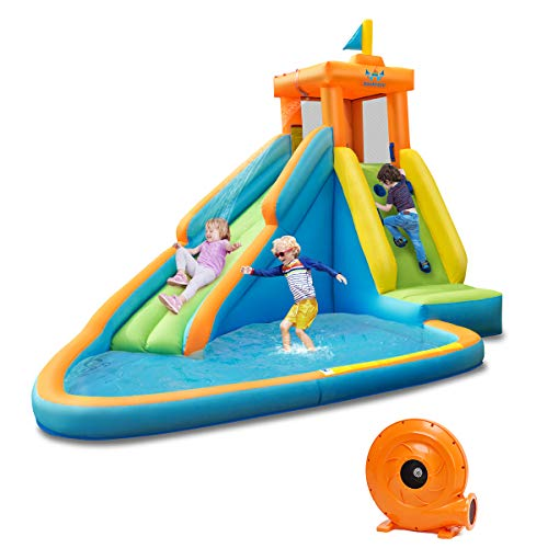 BOUNTECH-Inflatable-Water-Slide-Bouncer-Pool-wLong-Slide-Climbing-Wall-Including-Oxford-Carry-Bag-Repairing-Kit-Stakes-Hose-Castle-Bounce-House-with-740W-Air-Blower