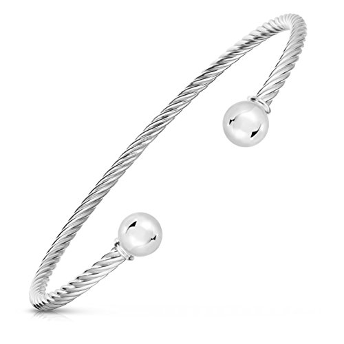 Sterling Silver Designer Bangle - 925 Solid Sterling Silver And Stainless Steel Ocean Twisted Bracelet 2-Ball Cuff Bracelet. (Size 6.5)