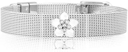 Luxery Mesh Armband Damen Set - Individuelle Anhänger Edelstahl Charm-Band Frauen Partner-schmuck Glücksbringer