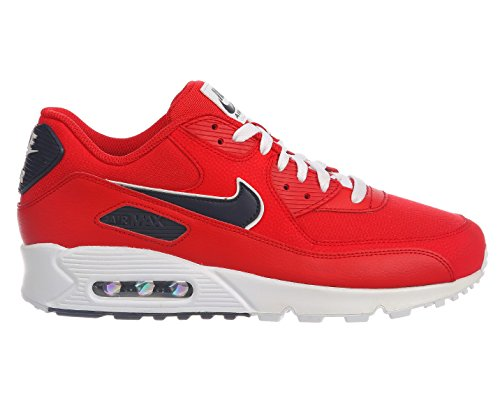NIKE Men's Air Max 90 University Red/Blackened Blue/White Leather Casual Shoes 11 D(M) (Nike Air Casual)