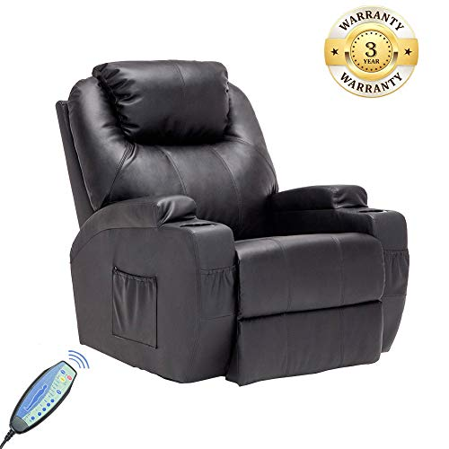 Cushion Like Recliner Leather Swivel (Massage Recliner Chair, 360 Degree Swivel and Heated Recliner Bonded Leather Sofa Chair with 8 Vibration Motors,Black)