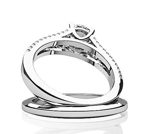 14K Or blanc diamant doublé Split Tige assorti Ensemble de mariage