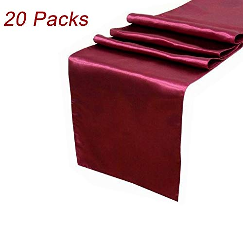 LG Home Pack of 20 Satin Table Runner 12 x 108 Inch for Wedding Party Engagement Event Birthday Graduation Banquet Decoration - -