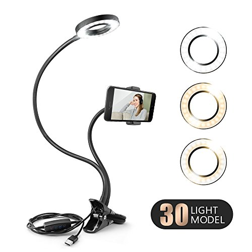 Selfie Ring Light with Cell Phone Holder Stand for Live Stream Video Chat and Makeup Dimmable Flexible Long Arm with Clip Clamp for iPhone, Android Samsung HTC HUAWEI Phones, Black by Beusoft