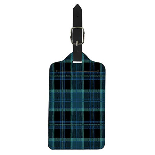 (Pinbeam Luggage Tag Black Tartan Plaid Blue Heritage Kilt Scotland Abstract Suitcase Baggage Label)