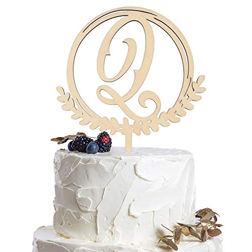 Letter Q Personalized Initial Wood Cake Topper Monogram Wedding Anniversary Birthday Vow Reveal Party Decoration Supplies.