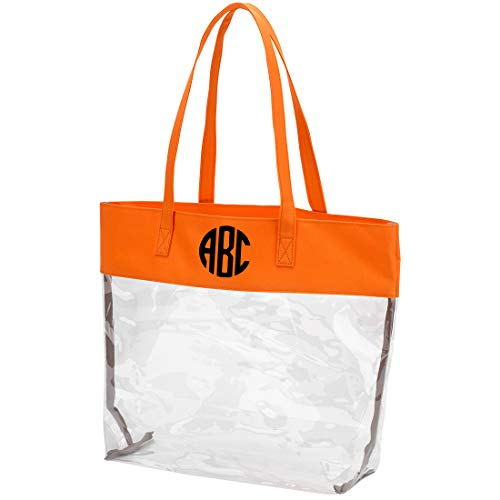 (Custom Name or Monogram Best Selling NFL Approved Stadium Clear Tote Bag with Color Trim (Monogrammed - Orange))