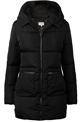 Quilted Puffer (iLoveSIA Women's Down Alternative Quilted Padded Thicken Puffer Coat With Hood Black Size 12)