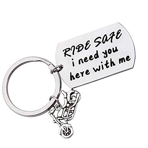Ride Safe I Need You Here with Me Biker Keychain Motorcycle Keychain Valentines Day Pendant (Ride Safe - 2)