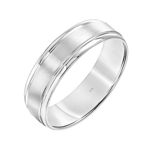 Brilliant Expressions 10K White Gold Brushed Satin Comfort Fit Flat Wedding Band with Polished Grooved Edges, 6mm, Size 10.5