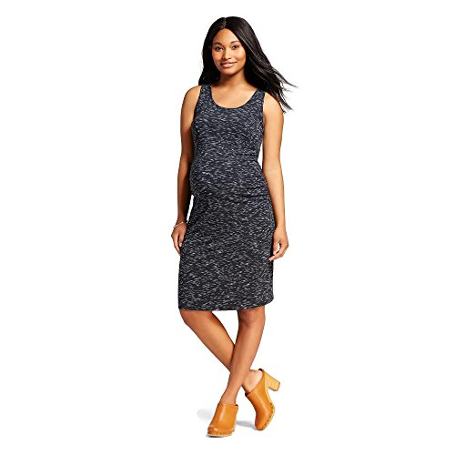 [Liz Lange Maternity Sleeveless T-Shirt Dress (Medium, Ebony SpaceDye)] (Maternity Jersey Dress)