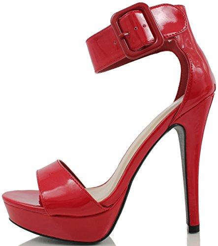 Deliziose Donne Zelena Open Toe Cinturino Alla Caviglia Cinturino Bassa Piattaforma Tacco Alto Rosso