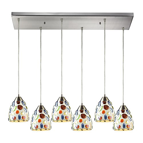 Elk 542-6RC Gemstones 6-Light Pendant with Sculpted Multicolored Glass Shade, 30 by 9-Inch, Satin Nickel Finish