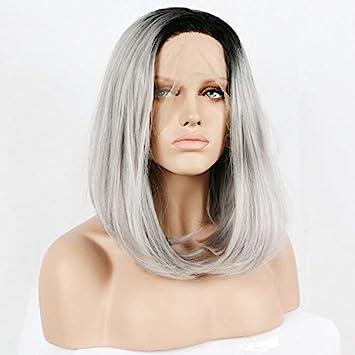 La Puntilla Haned Bob delantero pelucas pelo corto para las mujeres negras de encaje delantero cabello