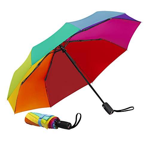 Repel Windproof Travel Umbrella with Teflon Coating (Rainbow) (Good Cheap Umbrella)