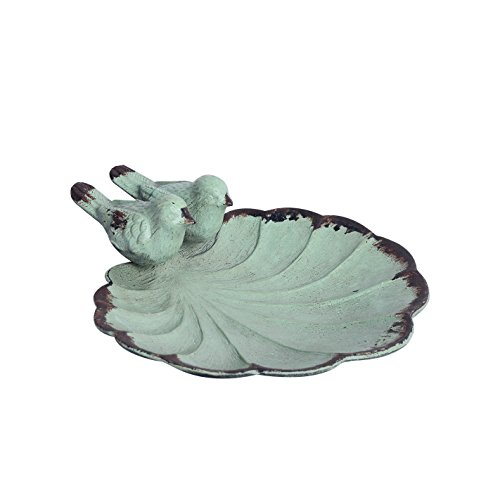 (NIKKY HOME Decorative Jewelry Dish with Metal Distressed Bird and Leaf, 4.37