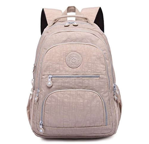 Nylon Casual Travel Daypack Lightweight Sports Laptop Backpack Purse for Women Waterproof Medium Work College School Bag for Girls (Khaki) (For Backpack Women College)