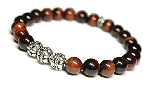- ELYSIUM Mens Gemstone Wellness Bracelet, RED TIGERS EYE, BALI SILVER, Strength, Courage, Positive Energy, holistic well being jewelry,crystal energy, minimalist, stylish unisex stone jewelry