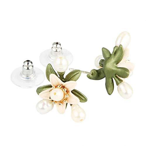 Orange Flower Tree Brooches Natural Pearls Brooch Scarves Buckle Accessories Stud Earrings by Jana Winkle