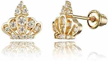 5b469e57d 14k Yellow Gold Princess Crown Cubic Zirconia Children Screwback Baby Girls  Earrings