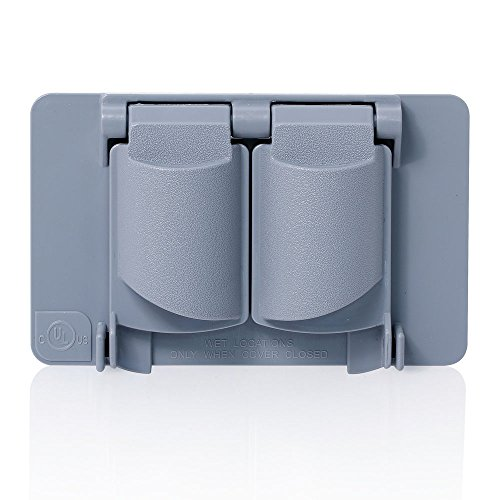 Flat Plastic Receptacle Lid (Leviton WP1D-GY Weatherproof Cover, Plastic Flat Lid, 1-Gang Duplex Receptacle, Gray)