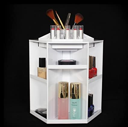 Makeup Organizer Rotating Bathroom Countertop Cosmetic Storage Carousel  Heavy Duty ABS Spinning Tower Box Bedroom Tabletop