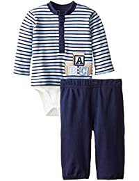 Baby-Boys Newborn Letter Blocks and Stripe Top Pant Set