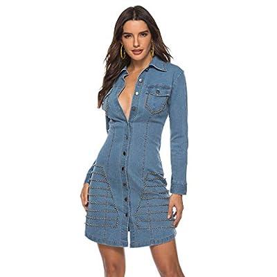 PASATO Women Sexy Lapel Denim Patchwork Button Long Sleeve Casual Slim Mini Dress Party Dress