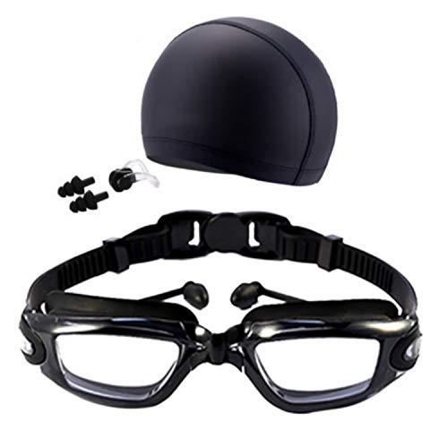 High-Definition Waterproof Anti-Fog Swimming Goggles Men Women Big Box Goggles Swimming Cap Earplugs Nose Clip Suit Three Set,TB