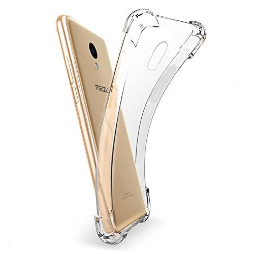 Meizu M5 Note Hülle, MSVII® Air-Cushion Design Durchsichtig Weich TPU Hülle Schutzhülle Case Und Displayschutzfolie für Meizu M5 Note JY70017