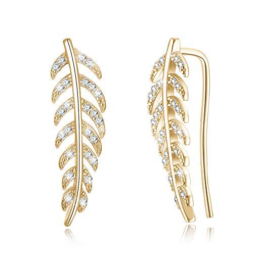 LEKANI Ear Cuffs Climber Studs S925 Sterling Silver 14K Gold Plated Leaf Earrings Crawler Cuffs Wrap Hypoallergenic Jewelry for Wowen