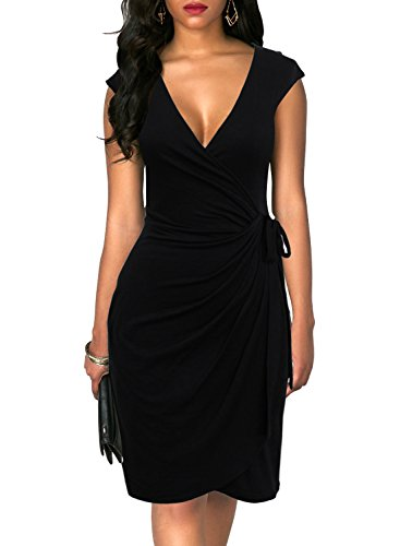 Berydress Women's Stretchy Cotton Blend Solid Knee Length Tie Belt Gathers Deep V Neck Faux Wrap Dress (L, 6028-black) by Berydress