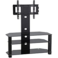 Topeakmart Black Glass TV Stand Cantilever Bracket 3 Tier Storage Shelves for 60 Inch Flat Screens Height Adjustable