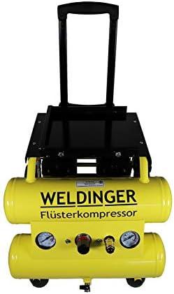 Aktionsset Weldinger Flüsterkompressor Fk 95 Pro Mobile 750 W Innenbeschichteter Tank Druckluftset 6 Teilig 5 Jahre Garantie Baumarkt