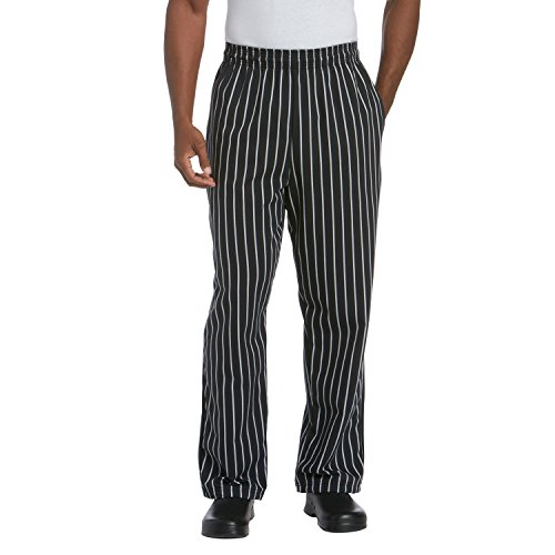 Mens Traditional Poly Blend Baggy Chef Pant (Chalk Stripe, XL)