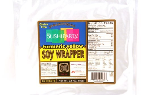 Sushi Party Soy Wrapper (Turmeric Yellow / 20-ct) - 2.8oz (Pack of 1) (Soy Paper)