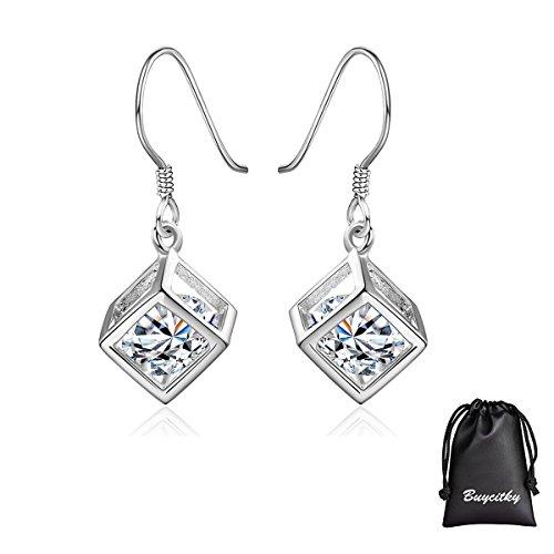 Dangle Earrings Cz - Silver Cube Drop Dangle Earrings for Women Girl Earrings Set Plated Sterling Silver Magic Cube Earrings with PU Jewelry Pouch