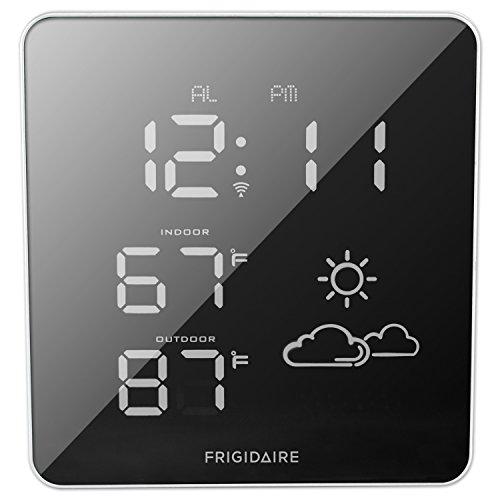 (Frigidaire 308-2414FR Wireless Square Mirrored Extra Bright LED Forecast Station )